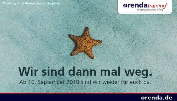Wir sind vom 20. August bis zum 7. September 2018 in Betriebsurlaub. Ab 10. September sind wir wieder wie gewohnt für Sie da.