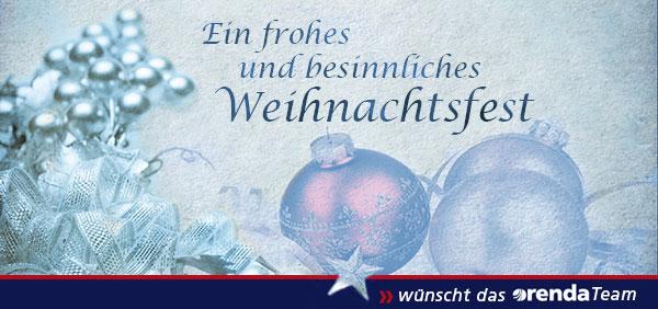 Ein frohes und besinnliches Weihnachtsfest wünscht das orenda Team
